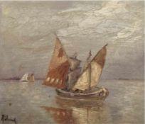 """Höhnel (19./20. Jh.) """"Fischeboote auf See"""", Öl/Mp., sign. u.l., 15x17 cm, Rahmen"""