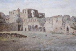 """Thiele, Hugo (19./20. Jh.) """"Schäfer vor Ruine"""", Öl/Lw., sign. u.l., 70x100 cm, Rahmen"""