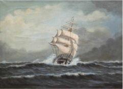 "Toft, P. (Marinemaler 19./20. Jh.) ""Segelschiff auf hoher See"", Öl/Lw., sign. u. dat. 1924u.r.,"