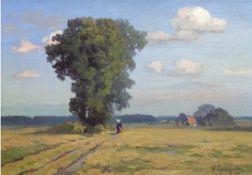 """Lyongrün, Arnold (1871 Domnau-1946 Kühlungsborn) """"Schleswig HolsteinscheSommerlandschaft"""", Öl/Mp.,"""