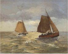 """Wacker-Elsen, Hans (1868 Düsseldorf-1958 Ferch am Schwielosee) """"Fischerboote auf unruhigerSee"""", Öl/"""