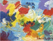 """Lorsch, Sandro von (1919 Hamburg-1992 Hamburg) """"Campagna Ticino"""", Öl/Lw., sign. u.r.,rücks. Widmung,"""