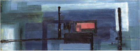 "Cater ""Rechteckiges Rot und Blau"", Öl/Lw., sign. u. dat.'58 u.l., rücks. sign. Catherine'58, 27x77"