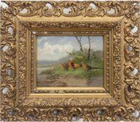 "Frank-Colon, Eugen ""Fasanenfamilie am Teichufer"", Öl/Hp., sign. u.r., 13,5x18 cm, Rahmen,(Maler"