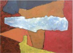 """Freytag, V. """"Ocker unter Blau"""", Öl/Lw., sign. o.r., 71x96 cm, Rahmen"""