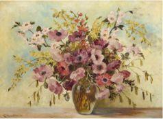 """Berghauer, W., um 1930 """"Vase mit Sommerblumenstrauß"""", Öl/Lw., sign. u.l., 60x80 cm, Rahmen"""