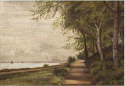 """Romantiker, Monogrammist M.N. """"Sommerlandschaft an der Küste"""", Öl/Lw., monogr., bez. u.dat. 1893 u."""