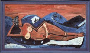 "Kaempf, K. (Expressionist, Umkreis Brücke-Gruppe) ""Blaue Berge"", Öl/Lw., sign. u. dat.1962 o.l.,"
