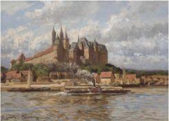 """Günther-Naumburg, Otto (1856 Naumburg/S.-1941 Berlin) """"Die Albrechtsburg in Meißen"""",Öl/Lw., sign."""