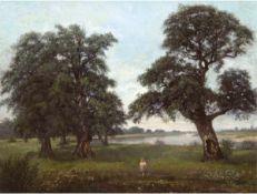 """Klein, Wilhelm (1821 Düsseldorf-1897 Remagen) vermutl. """"Seenlandschaft mit Baumgruppe"""",Öl/Lw., sign."""