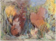 """""""Blühende Wiese"""", Pastell, undeutl. sign. u.l.,47x62 cm, hinter Glas im Passepartout undRahmen"""