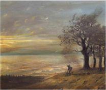 """Gerhold (19./20. Jh.) """"Mann schaut aufs Meer"""", Öl/Lw., sign. u.r., 52x59 cm, Rahmen"""