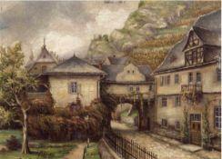 """""""Landschaft in der Sächsischen Schweiz mit Weinberg"""", Öl/H., undeutl. sign. u.l., 24x32 cm"""