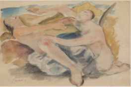 "Jaeckel, Willy (1888 Breslau/Wroclaw-1944 Berlin) ""Paar am Strand"", Aquarell, sign. u.dat. '16 u.l.,"