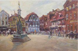 """Maler des 20. Jh. """"Brunnen auf Marktplatz"""", Öl/Lw., undeutlich sign. u. dat. '98? u.r.,80x120 cm,"""