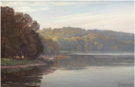 "Lyongrün, Arnold (1871 Domnau-1946 Kühlungsborn) ""Seenlandschaft in Holstein"", Öl/Mp.,sign. u.r.,"