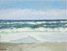 "Pannwitt (Rostocker Maler des 20. Jh.) ""Ostseebrandung"", Öl/Mp., sign. u.l. 40x50 cm,Rahmen"
