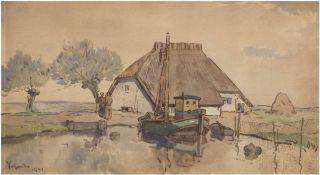 "Scheele, Hugo (1881 Arnsberg/W.-1960 Zempin/Usedom) ""Fischerkate auf Usedom"", Aquarell,sign. u. dat."