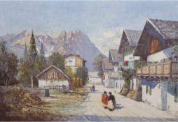 "Köhrer, Julius (1897 Stuttgart- ?) ""Gebirgsdorf"", Öl/Lw., sign. mit Ortsbez. ""München""u.l., 70x100"