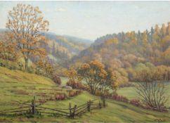 "Grube, K. (Landschaftsmaler 1. H. 20. Jh.) ""Gebirgslandschaft im Herbst"", Öl/Lw., sign.u.r."