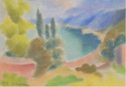 """Wagner, Franziska (1905 Dziedice/Polen-1986 Düsseldorf), """"Blick auf das Meer"""", Pastell,20x29 cm,"""
