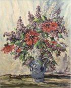 """Brinkmann, Hans (1902 Rostock-1977 Rostock) """"Flieder und rote Blumen im Krug"""", Öl/Lw./Hf.,sign. u."""