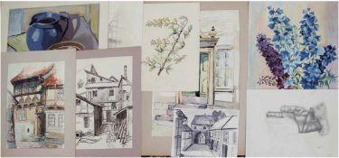 Höbler, Bruno (Warnemünder Zeichner des 20. Jh.), Kunstmappe mit ca. 30 Zeichnungen,50/60er Jahre