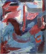 """Expressionist um 1950/60, Umkreis Jawlensky """"Gesicht"""", Öl/Lw., unsign., mehrereHinterlegungen, 62x53"""