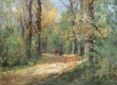 "Pflugradt, Franz (1861 Peenwerder/Demmin-1946 Zingst) ""Spaziergänger im Wald"", Öl/Lw.,sign. u.r.,"