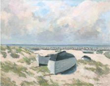 """Koch, A. """"Boote am Strand"""", Öl/Lw., sign. u.r., 60x76 cm, Rahmen"""