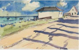 "Beyer, Tom (1907 Münster/Westfalen-1981 Stralsund) ""Haus am Bodden"", Aquarell, signiertu.l., 10x17"