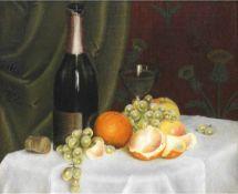 """Maler um 1900 """"Stilleben mit Obst und Weinflasche"""", Öl/Lw., unsign., Craquelés, 38x45 cm,Rahmen"""