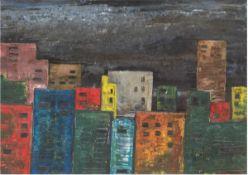 """Bundschuh, W. """"Schlafende Stadt"""", Öl/Hf., sign. u.r., rückseitig bez. u. sign., 59x80 cm,Rahmen"""
