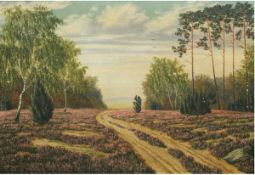 """Muklak, E. """"Heidelandschaft"""", Öl/Lw., sign. u.r. u. dat. 1945, Lw. leicht besch., 75x105cm, Rahmen"""