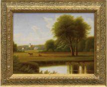 """Maler des 19. Jh. """"Landschaft mit See und Dorf"""", Öl/Mp., unsign., 24x32 cm, Rahmen"""