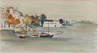 """Lambert, Kurt (1908 Berlin- 1967) """"An der Alster"""", Aquarell, signiert u.l., 22x40 cm,hinter Glas"""