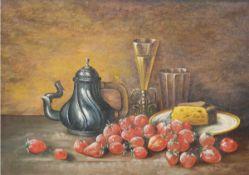 """Bandow, H. (Stillebenmaler 19./20. Jh.) """"Stilleben mit Erdbeeren und Zinnkanne"""", Öl/Lw.,sign. u."""