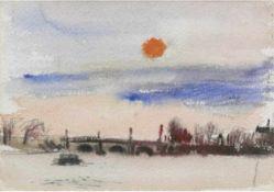 "Lambert, Kurt (1908 Berlin- 1967) ""Alster"", Aquarell, unsigniert, Riß u.r., 15x21 cm,Rahmen"
