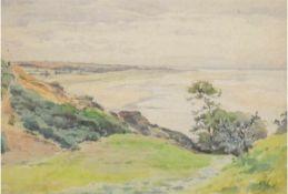 """Müller-Kaempff, Paul (1861 Oldenburg-1941 Berlin) """"Ostseeküste bei Ahrenshoop"""", Aquarell,"""