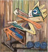 """Kaempf, K. """"Holzkasper"""" abstrahiert, Öl/Lw., signiert und datiert '65 u.r., rückseitigbez., 71x60"""