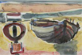 "Huth, Wilhelm Robert (1890-1977) ""Boote am Strand"", Aquarell, sign. u.r., 28x40 cm, imPassepartout"