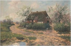 "Brandenburg, E.v. ""Bauernhaus am Wegesrand"", Öl/Mp., sign. u.r., 34x49 cm, Rahmen"