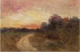 """Bunke, Franz (1857 Schwaan-1939 Oberweimar) """"Sommerabend"""", Öl/Karton., sign. u.r.,Werkzverzeichnis"""