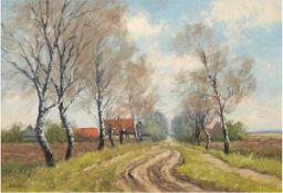 """Bohlens, Hermann (1899 Hamburg-? Bergedorf) """"Landstraße mit Birken vor dem Dorf"""", Öl/SH.,signiert"""