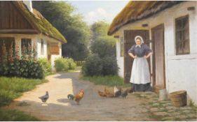 """Langen, Alfred? (19. Jh.) """"Bauersfrau füttert ihre Hühner"""", Öl/Lw., signiert u.r., 1xHinterlegung,"""