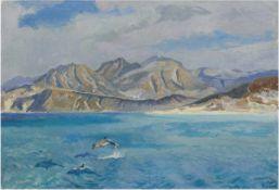 """Maler des 20. Jh. """"Delphine vor felsiger Küste"""", Öl/Lw. unleserlich signiert und datiert'72 u.r.,"""