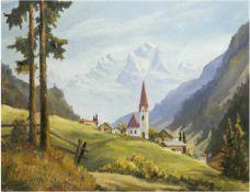 """Ströer """"Alpenlandschaft mit Bergdorf"""", Öl/ Lw. auf Holzplatte aufgezogen, 60x75 cm"""
