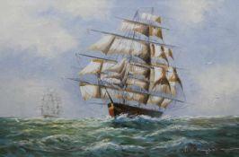 """""""Windjammer auf hoher See"""", Öl/Lw., undeutl. sign. u.r., 61x91 cm, Rahmen"""