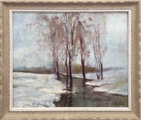 "Facklam, Wilhelm (1893 Upahl-1972 Winklehaid) ""Wintertag"", um 1920 Öl/SH., sign. u.r.,44x54 cm,"