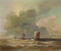 "Krause, Wilhelm August (1803 Dessau-1864 Berlin) ""Seestück"", Öl/Lw., sign. u.r.,Metallschild """